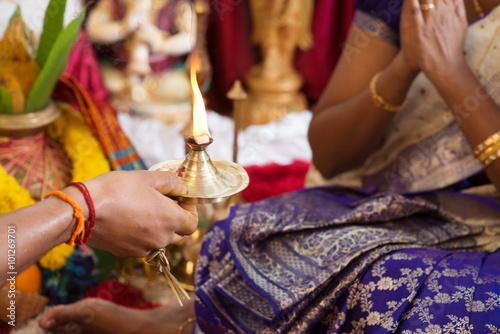 Traditional Indian praying rituals.