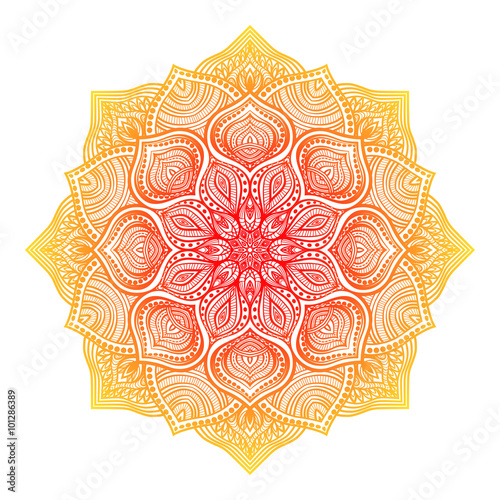 Photo yellow-red floral round ornament