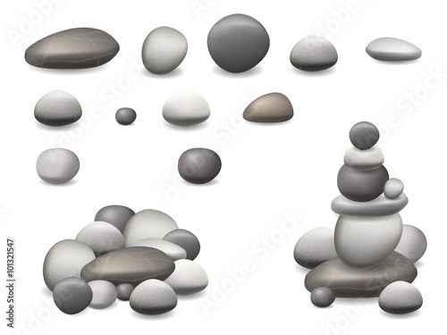 Photo Set pebbles and natural stones of different shapes and colors