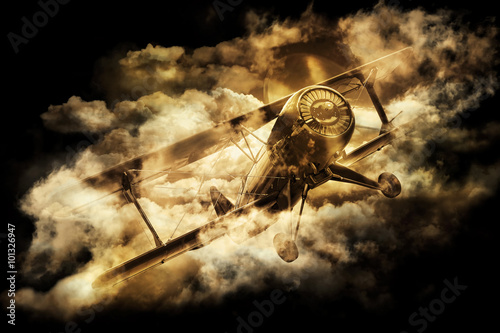 Billede på lærred Vintage style image of a World War. Old biplane in the sky.