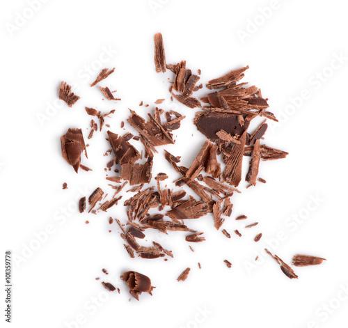Obraz na plátně closeup of chocolate chips on isolated white background