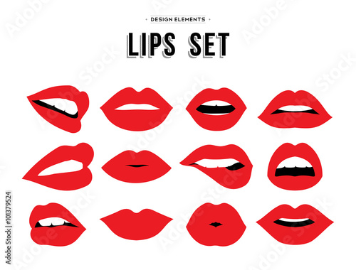 Carta da parati Woman's lip emotions gestures set.