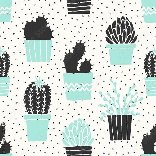 Ręcznie rysowane kaktusa wzór
