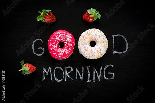 Obraz na płótnie Donuts and strawberries
