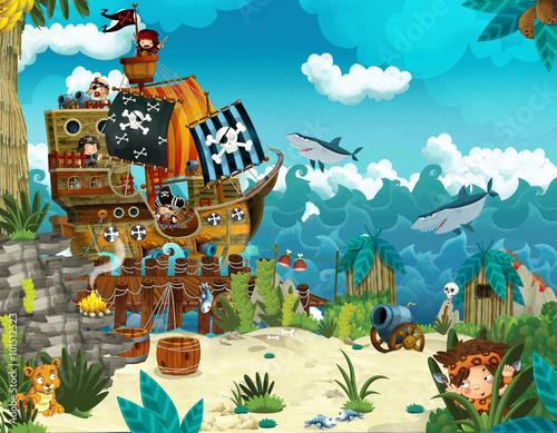 Fotografia Cartoon illustration - pirates on the wild island - illustration for the childre