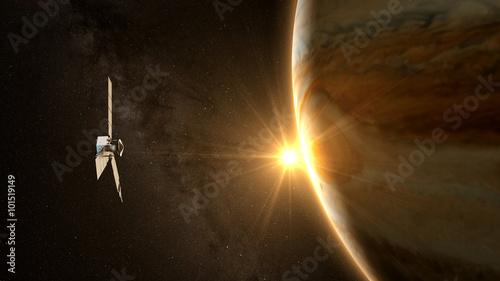 Photo jupiter and satellite juno with beautiful sunset