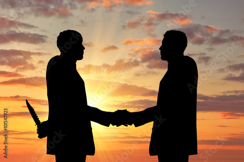 Canvas Print Silhouette of two businessmen shaking hands
