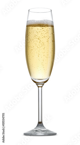 Canvas Print A glass of champagne isolated on a white background