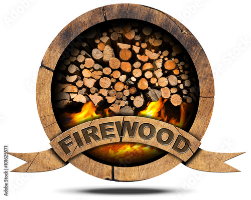 Photo Firewood - Wooden Symbol / Wooden symbol with a pile of firewood and flames, text Firewood on a wooden ribbon