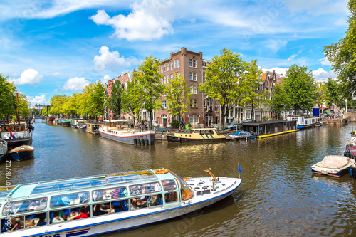 Amsterdam canals and  boats, Holland, Netherlands. Fototapeta
