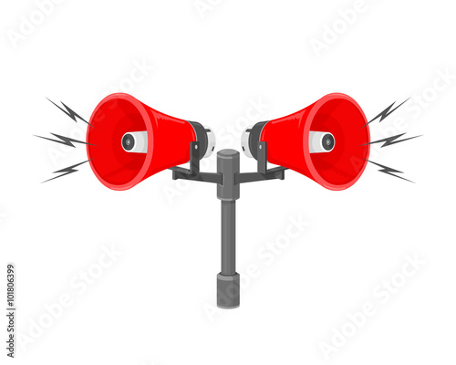Stampa su Tela A vector illustration of speakers sounding a warning or siren