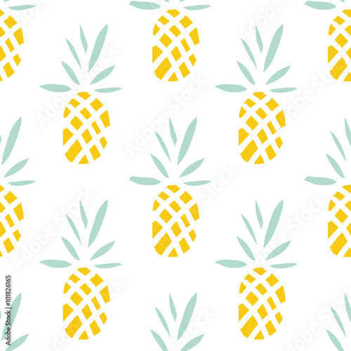 Pineapples on the white background. Vector seamless pattern with tropical fruit.