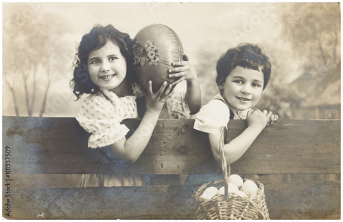 boy and girls with easter eggs