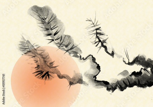 Branches of an old Pine tree, drawn in the style of sumi-e.