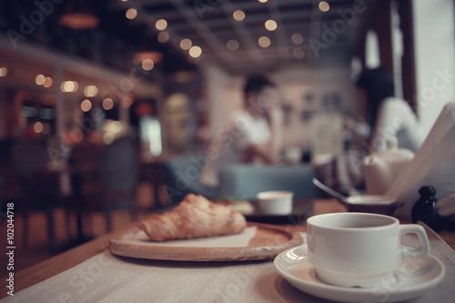 Breakfast tea in a cafe Tapéta, Fotótapéta