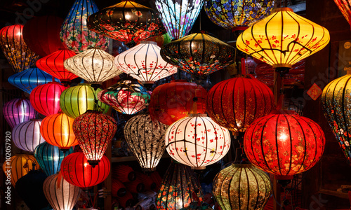 14 january 2016, Hoi An, Vietnam. Paper lanterns on the streets of Hoi An