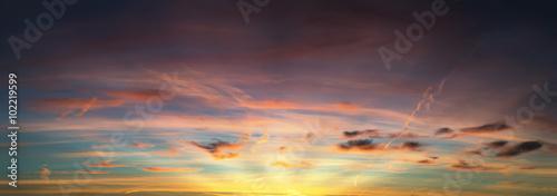 Obraz na płótnie Panoramiczny zachód słońca