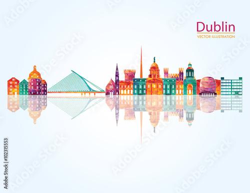 Fototapeta premium Szczegółowe linie lotnicze w Dublinie. ilustracji wektorowych