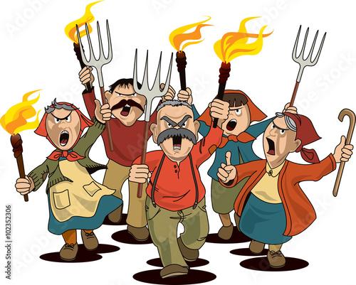 Slika na platnu Angry villagers on the march