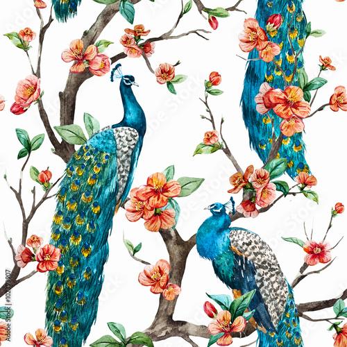 Canvas Print Watercolor raster peacock pattern