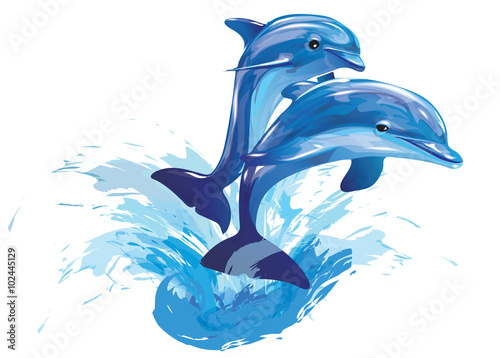 Canvas-taulu jumping dolphins
