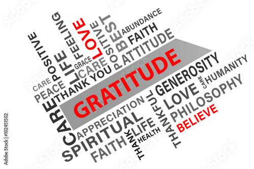 Gratitude word cloud concept vector illustration background