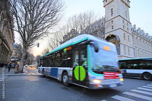 Paris, France, February 6, 2016: Bus on the street of Paris, France