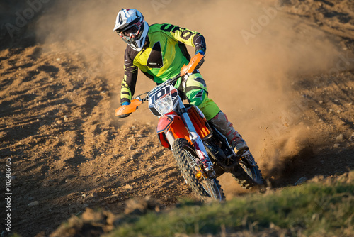 Canvas Print rider during motocross race