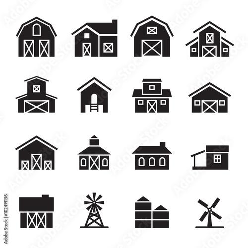 Fototapeta barn & farm building icon set