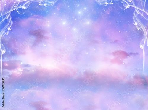 Carta da parati mystical background with cloudy sky and magic stars
