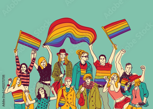 Canvas Print Lgbt happy gay meeting people group and sky.