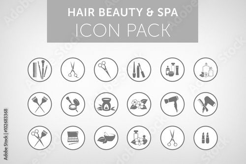 Hair beauty and spa icon set vol.1