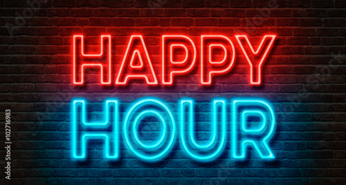 Tablou Canvas Neon sign on a brick wall - Happy Hour