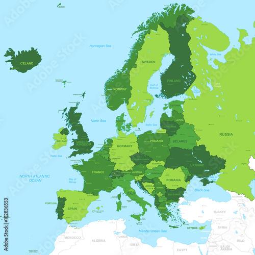 Photo Vector High Detail Green Europe Map