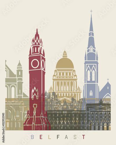 Carta da parati Belfast skyline poster