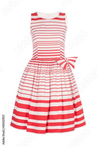 White with red retro dress isolated on white background Fototapeta
