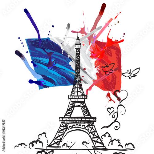 Wallpaper Mural france vector flag isolated
