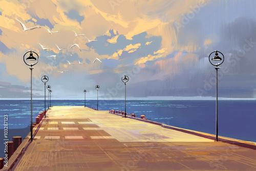 most-do-morza-na-tle-pieknego-nieba-malarstwo-ilustracyjne