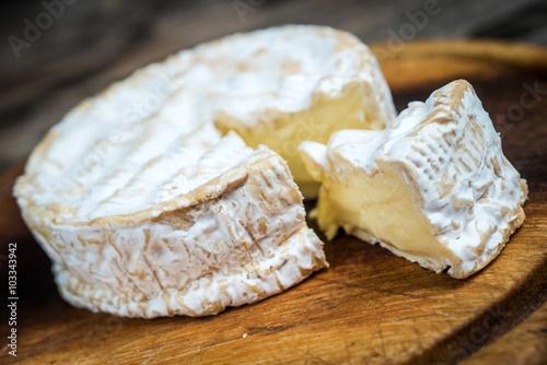 Closeup slice camembert cheese
