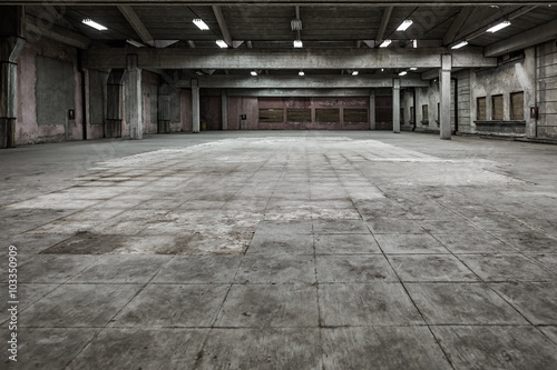 Grunge hall of abandoned factory