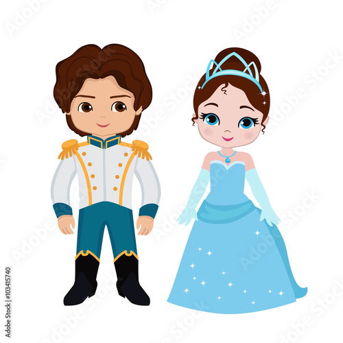 Illustration of very cute Prince and Princess