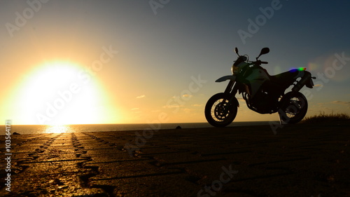 Canvas Print Motorcycle in the Sunset