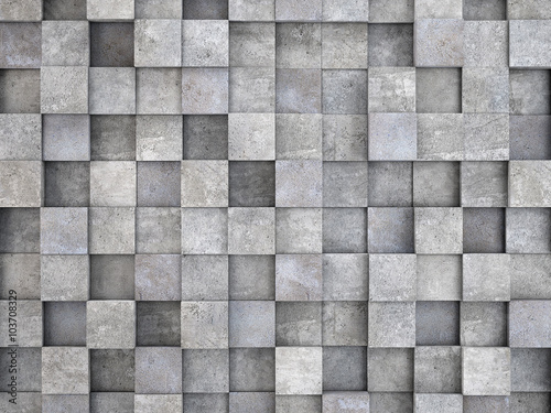 wall of concrete cubes