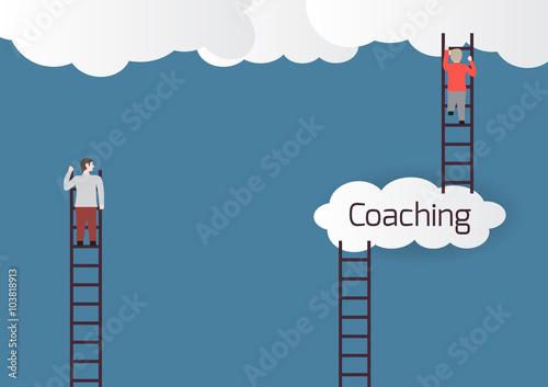 Fotografia Metaphor about coaching.Vector illustration.