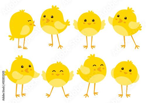 Photo Set of cute cartoon chickens