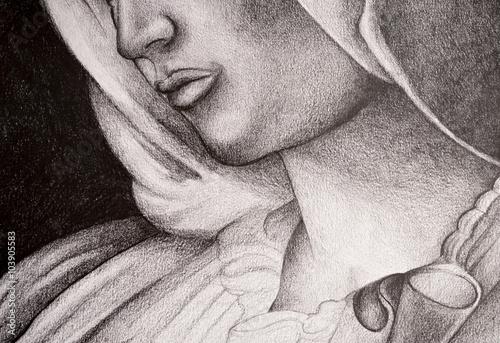 Fotografia Disegno della Madonna, Vergine Maria