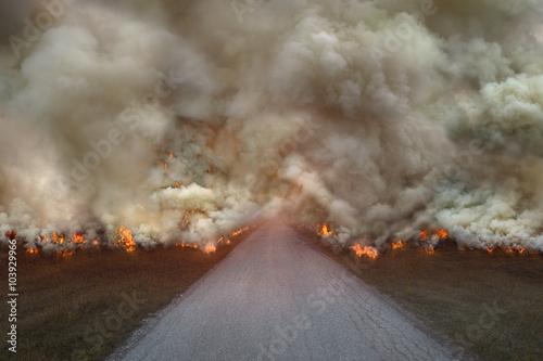 Fotografie, Obraz Přírodní katastrofa s velkým požárem na silnici