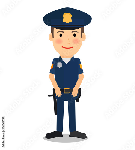 Photo Policeman and police officer character on white background