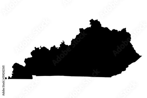 Kentucky czarna mapa na białym tle wektor