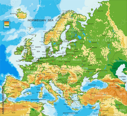 Photo Europe - physical map